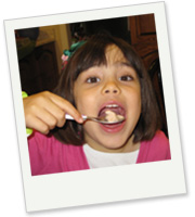 Young girl enjoying Pascale's All Natural Ice Cream
