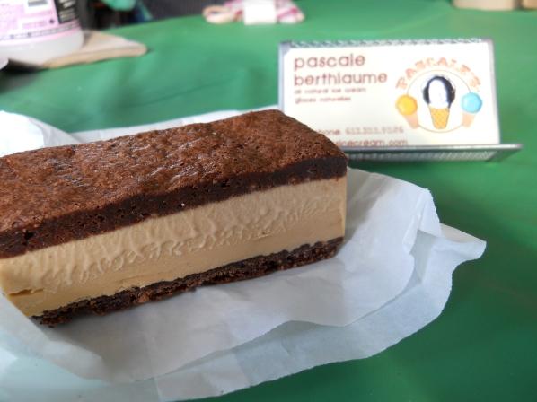 Milk chocolate Beau's beer ice cream sandwich