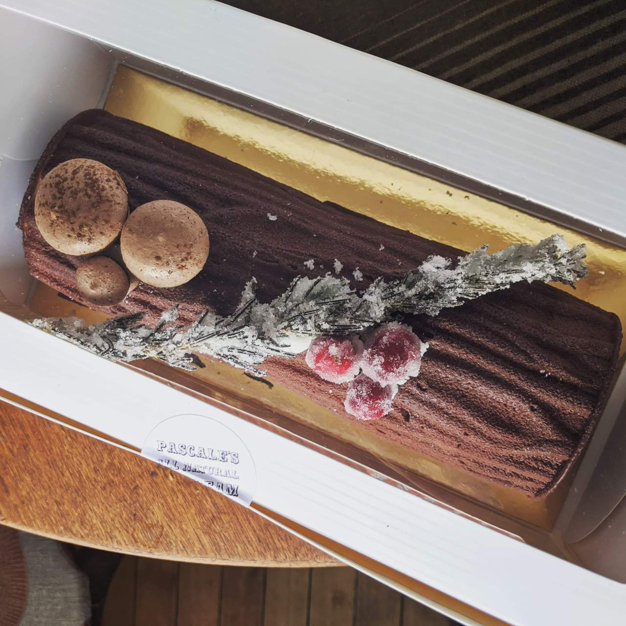 Christmas yule log made from ice cream
